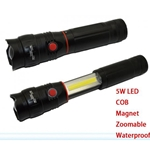 DS607 - Collapsible Sliding COB Led Torch / Flashlight