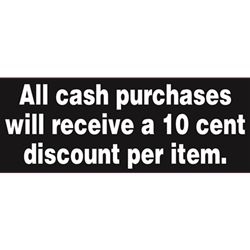 DS3707 - 10 CENT DISCOUNT ON CASH PURCHASES DECAL